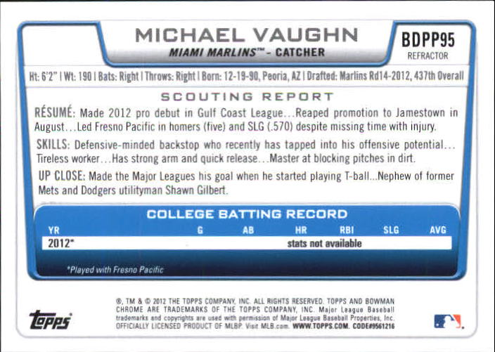 2012 Bowman Chrome Draft Draft Picks Blue Wave Refractors #BDPP95 Michael Vaughn back image