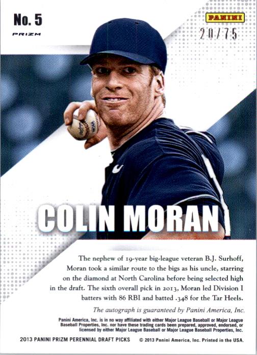 2013 Panini Prizm Perennial Draft Picks Prospect Signatures Blue Prizms #5 Colin Moran back image