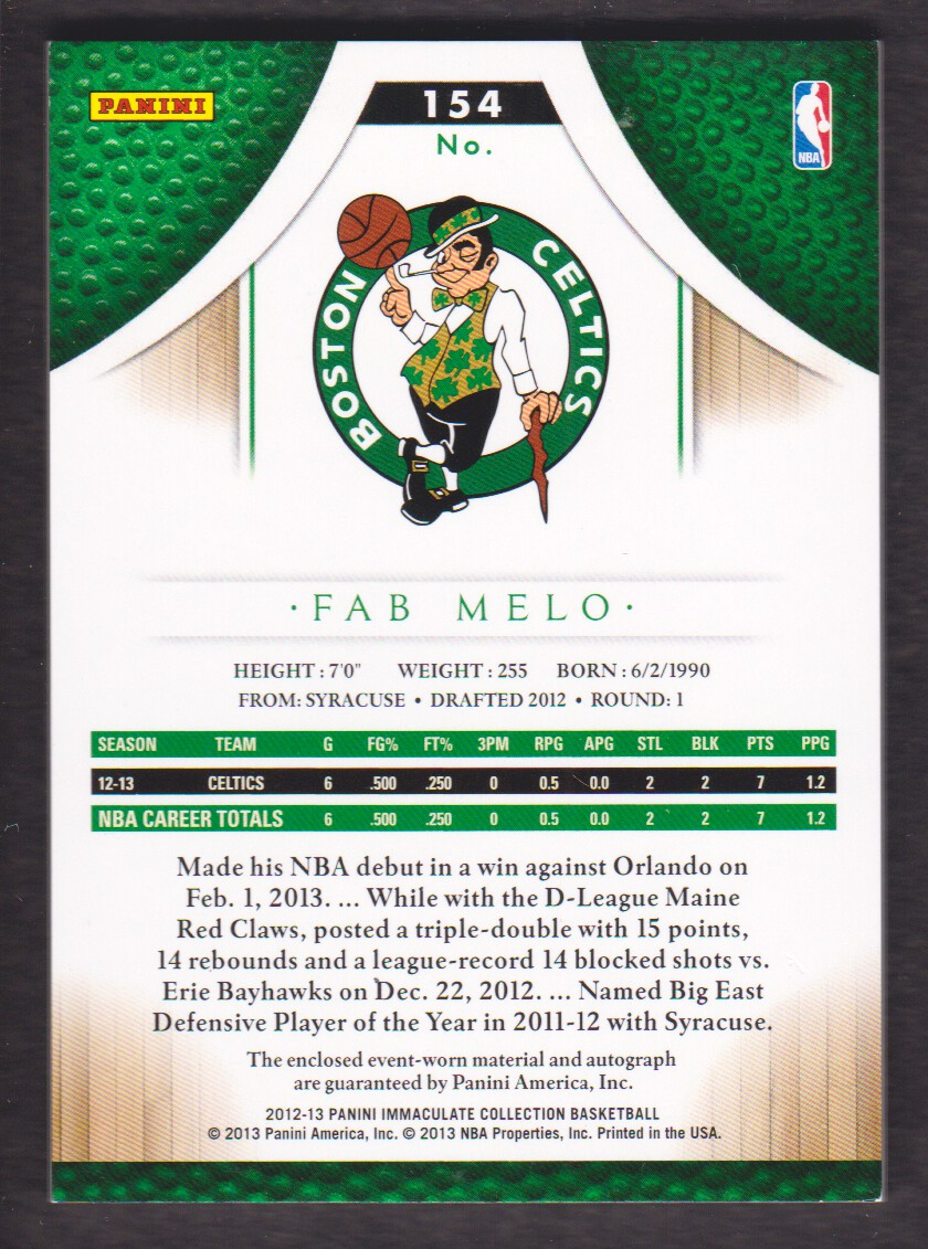 2012-13 Immaculate Collection Rookie Red #154 Fab Melo/25 back image