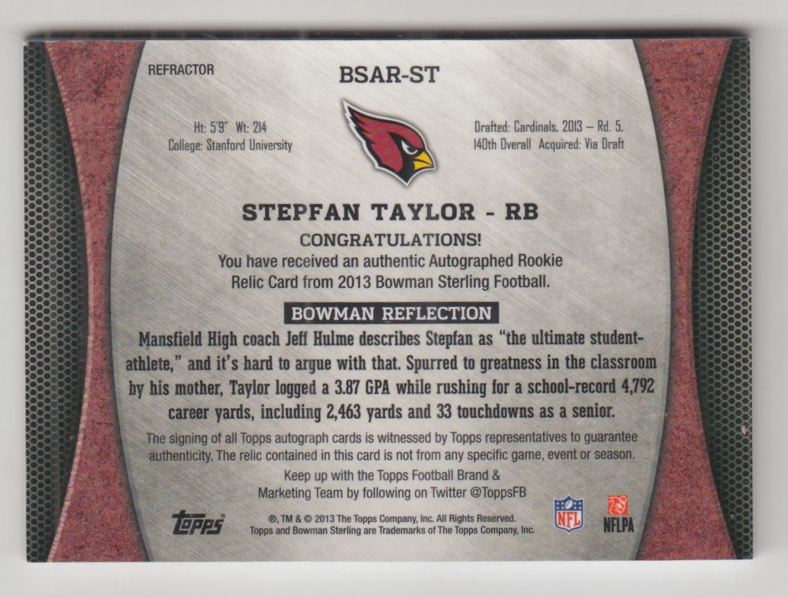 2013 Bowman Sterling Rookie Autograph Relics Prism Refractors #BSARST Stepfan Taylor back image