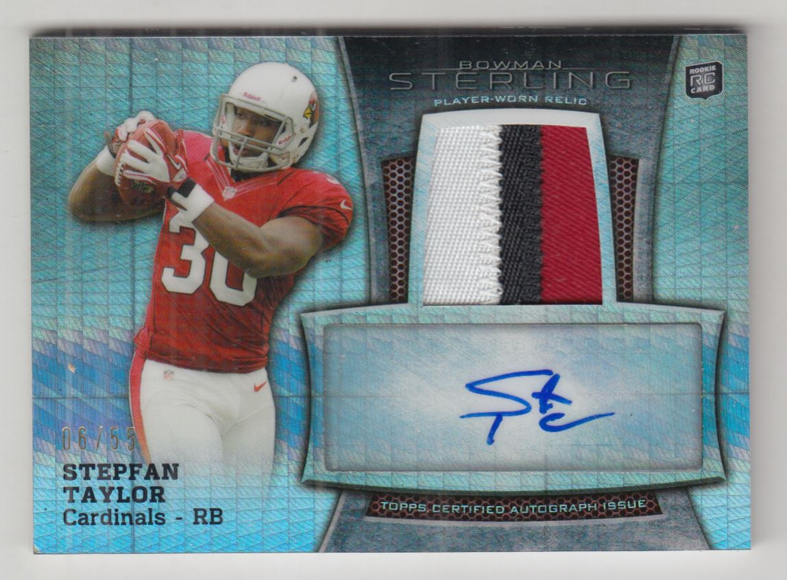 2013 Bowman Sterling Rookie Autograph Relics Prism Refractors #BSARST Stepfan Taylor