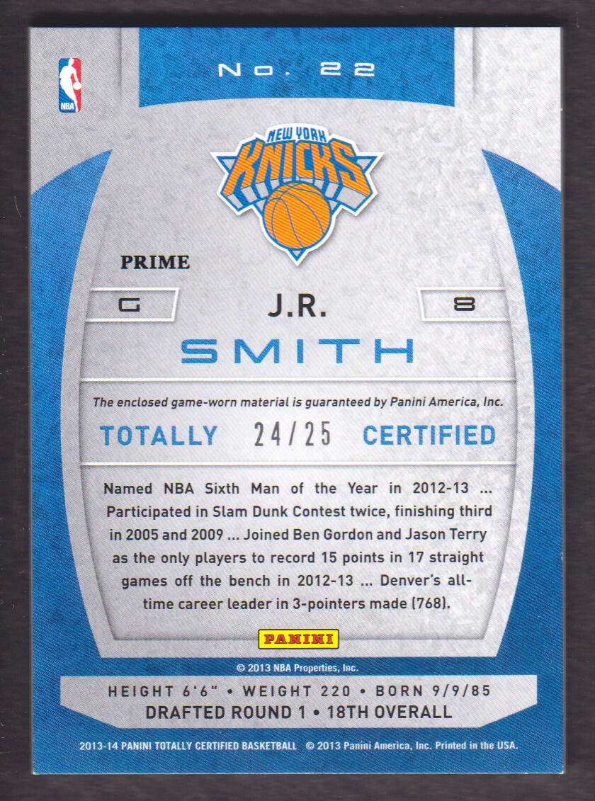 2013-14 Totally Certified Materials Red Prime #22 J.R. Smith/25 back image