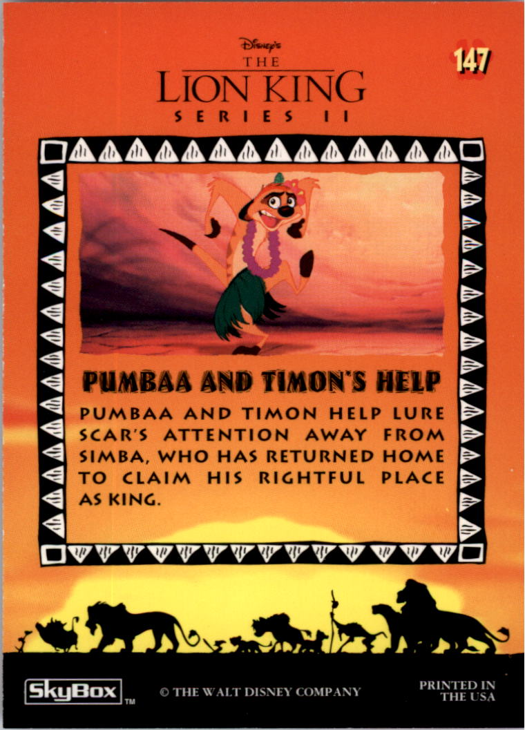 1994 The Lion King #147 Pumbaa and Timon's Help back image