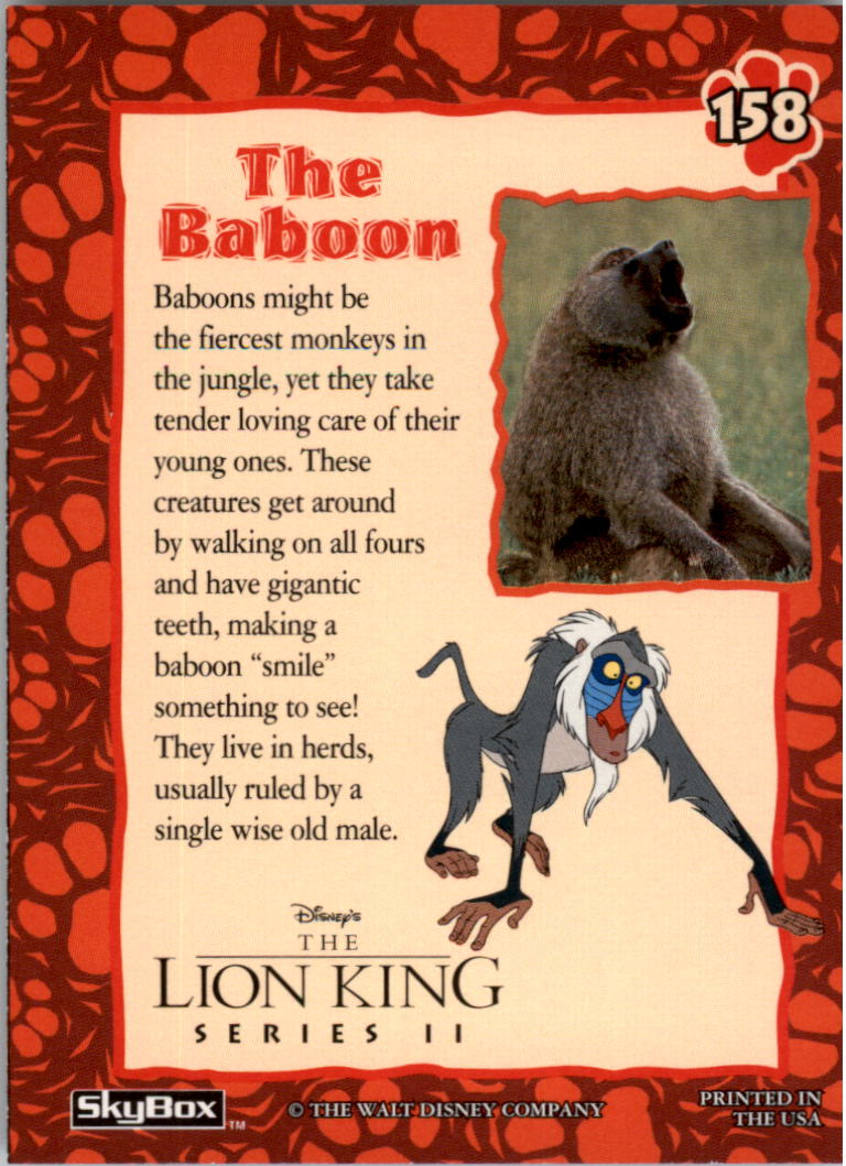 1994 The Lion King #158 The Baboon back image