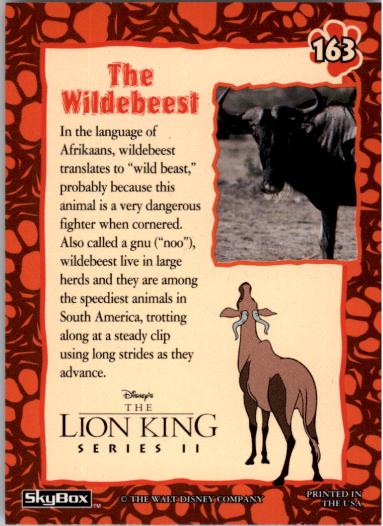 1994 The Lion King #163 The Wildebeest back image
