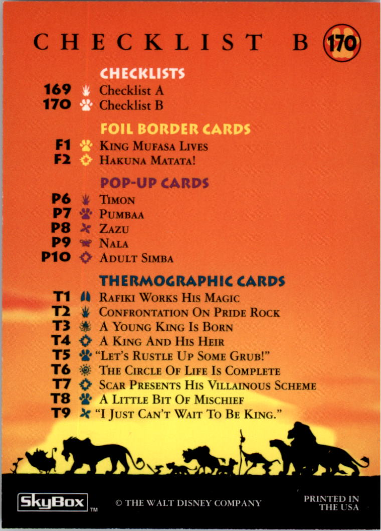 1994 The Lion King #170 Checklist B back image
