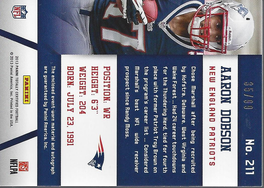 2013 Totally Certified Blue Signatures #211 Aaron Dobson FF/99 back image