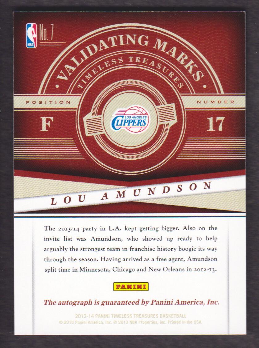 2013-14 Timeless Treasures Validating Marks #7 Lou Amundson back image