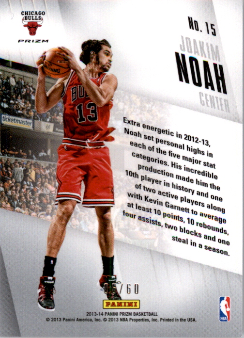 2013-14 Panini Prizm Brilliance Prizms Orange #15 Joakim Noah back image