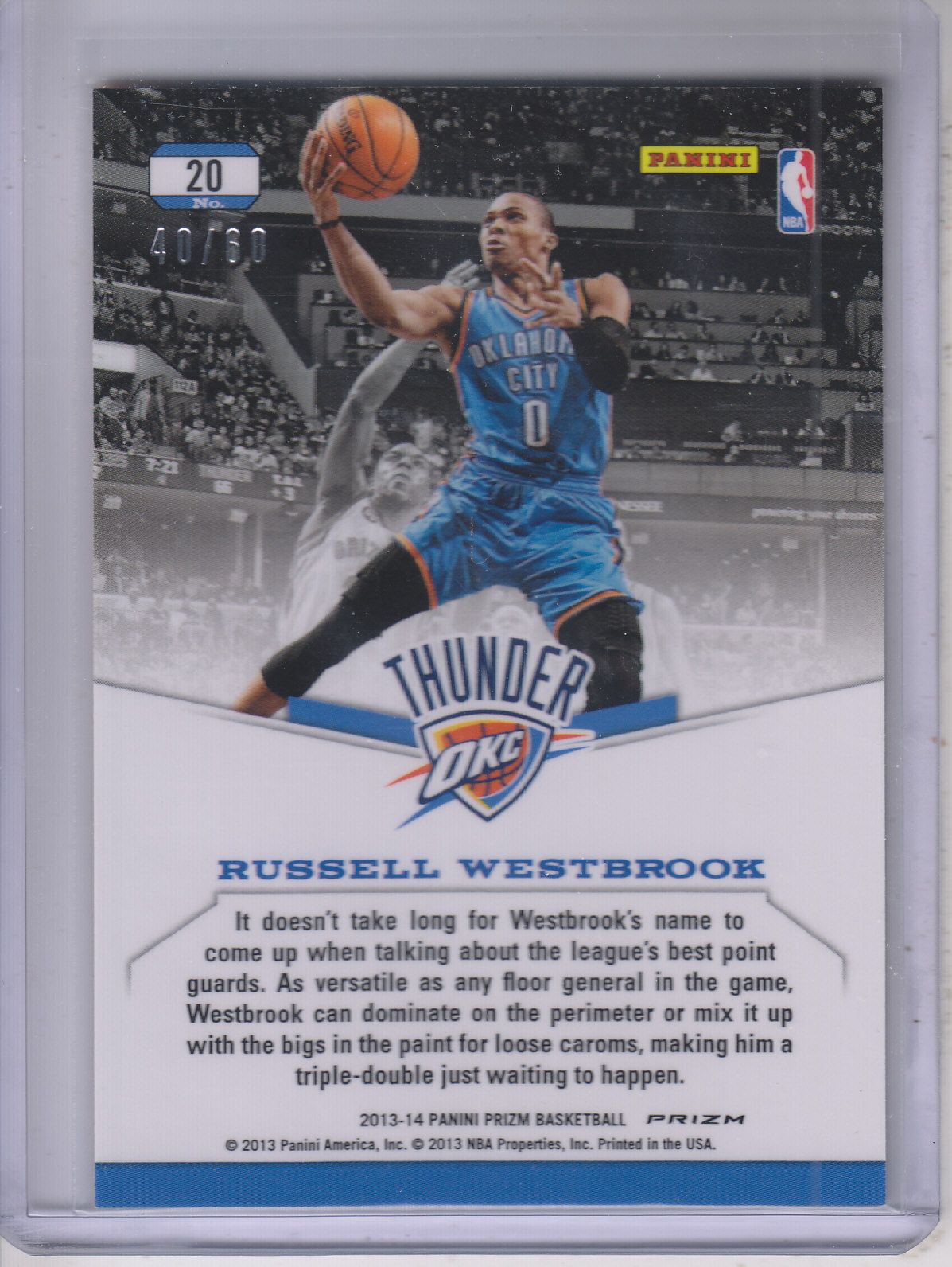2013-14 Panini Prizm Dominance Prizms Orange #20 Russell Westbrook back image