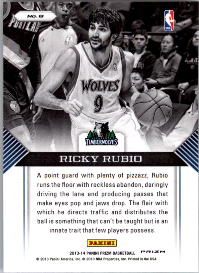2013-14 Panini Prizm Guard Duty Prizms #8 Ricky Rubio back image