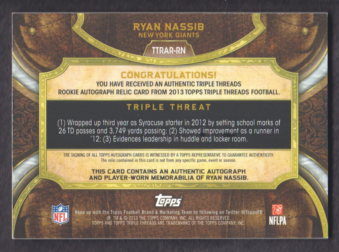 2013 Topps Triple Threads Rookie Autograph Relics #TTRARRN Ryan Nassib back image