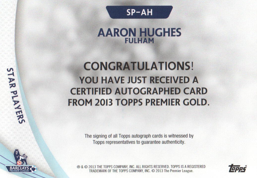 2013-14 Topps English Premier League Gold Star Players Autographs #SPAH Aaron Hughes back image