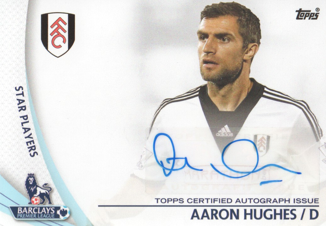 2013-14 Topps English Premier League Gold Star Players Autographs #SPAH Aaron Hughes