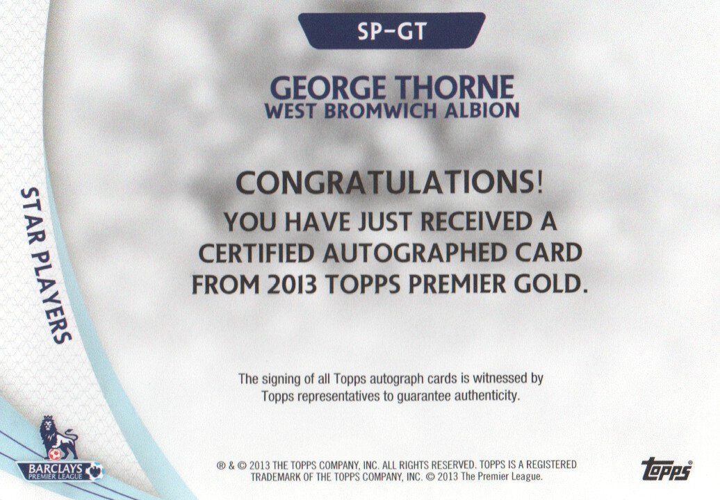2013-14 Topps English Premier League Gold Star Players Autographs #SPGT George Thorne back image