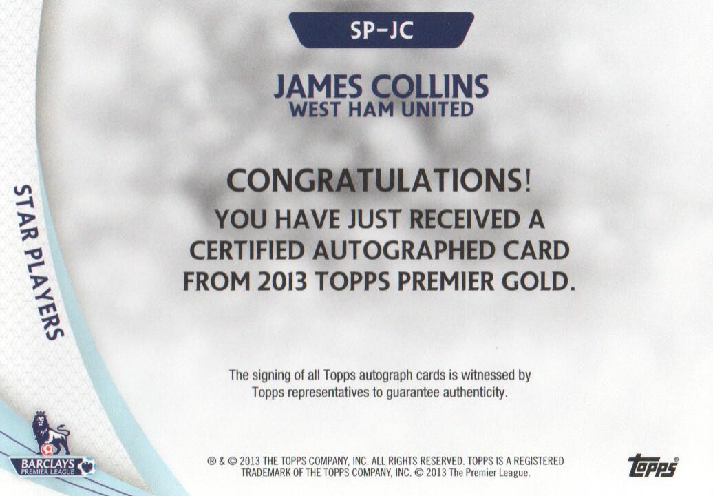 2013-14 Topps English Premier League Gold Star Players Autographs #SPJC James Collins back image