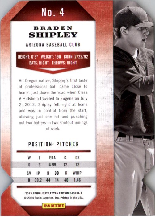 2013 Elite Extra Edition Status #4 Braden Shipley back image