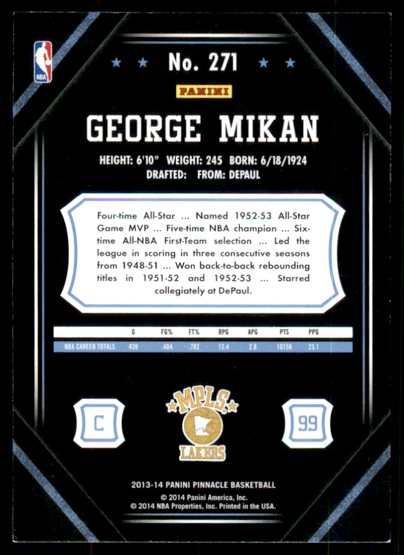 2013-14 Pinnacle Artist's Proofs Red #271 George Mikan back image