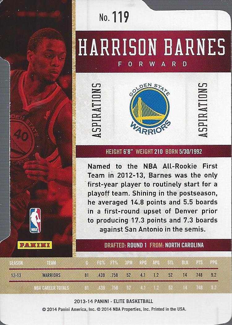 2013-14 Elite Aspirations #119 Harrison Barnes/60 back image