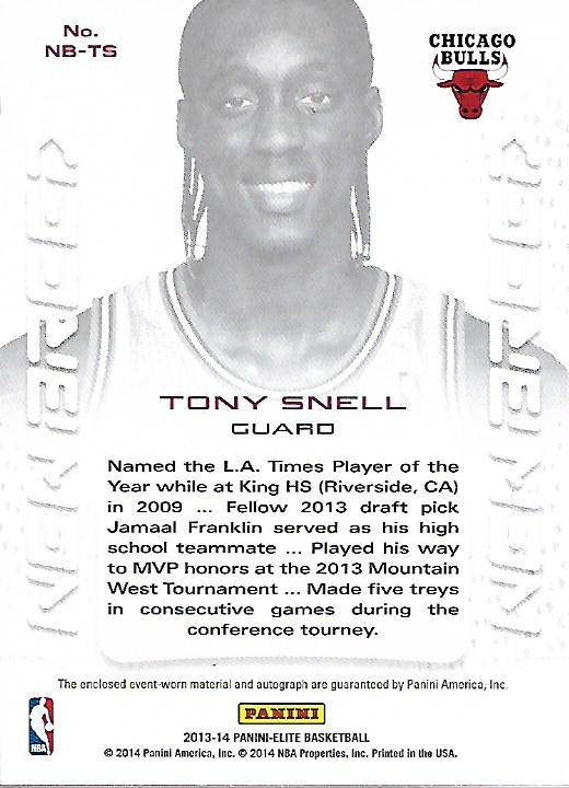2013-14 Elite New Breed Autograph Jerseys #34 Tony Snell/499 back image