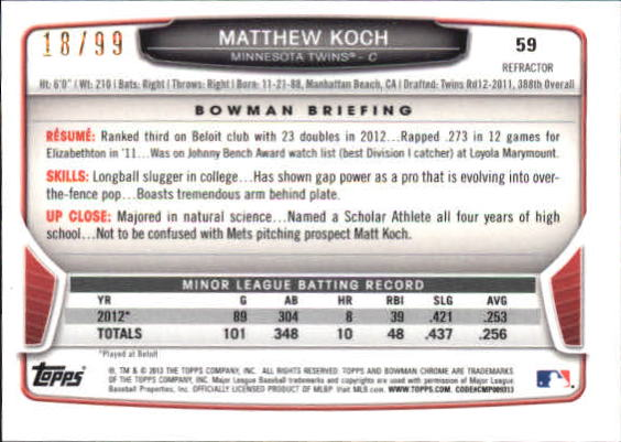 2013 Bowman Chrome Mini Blue Refractors #59 Matthew Koch back image