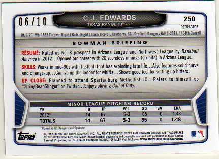 2013 Bowman Chrome Mini Red Refractors #250 C.J. Edwards back image