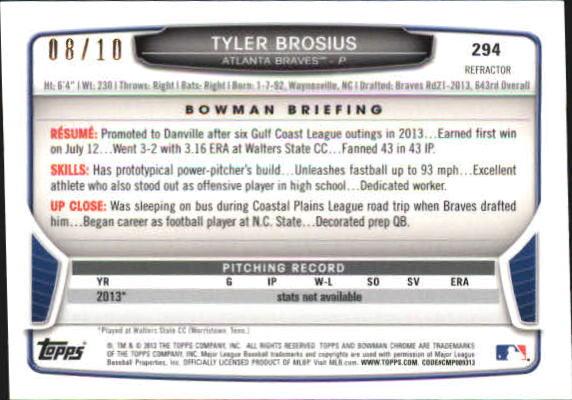 2013 Bowman Chrome Mini Red Refractors #294 Tyler Brosius back image