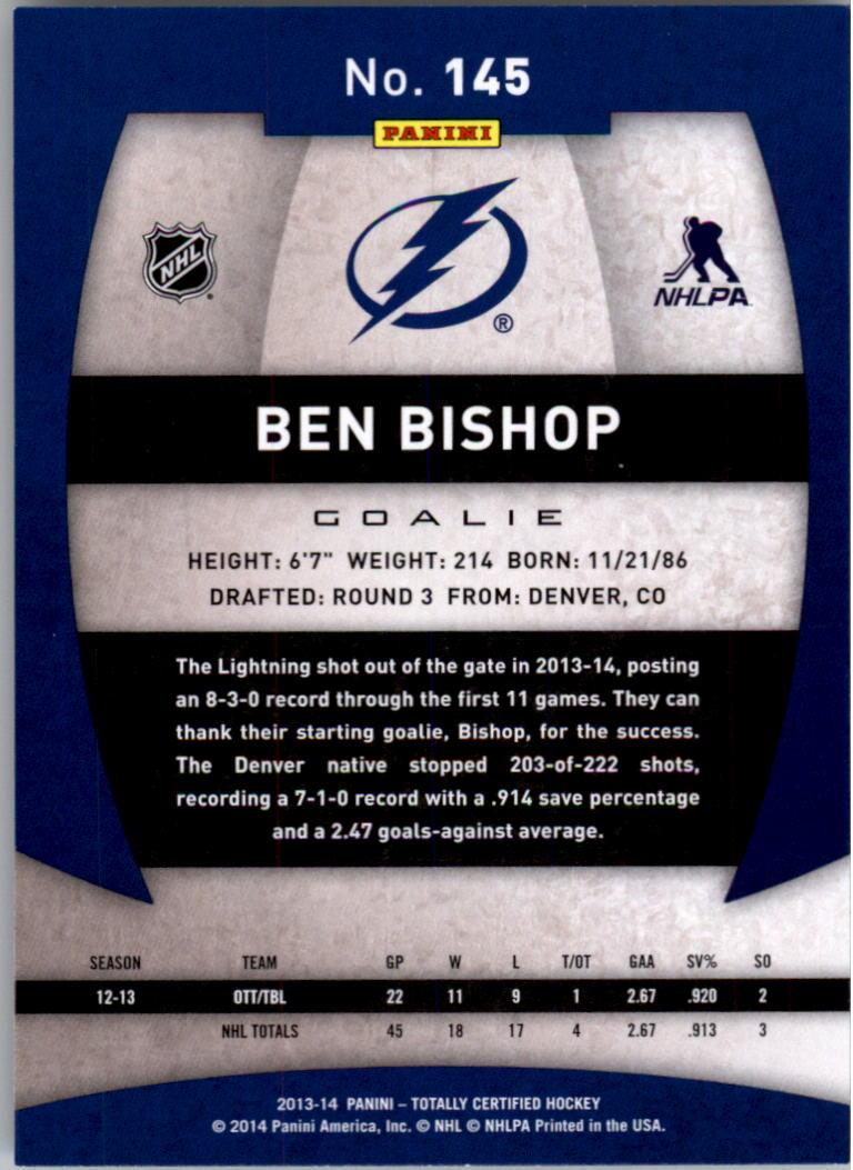 2013-14 Totally Certified #145 Ben Bishop back image