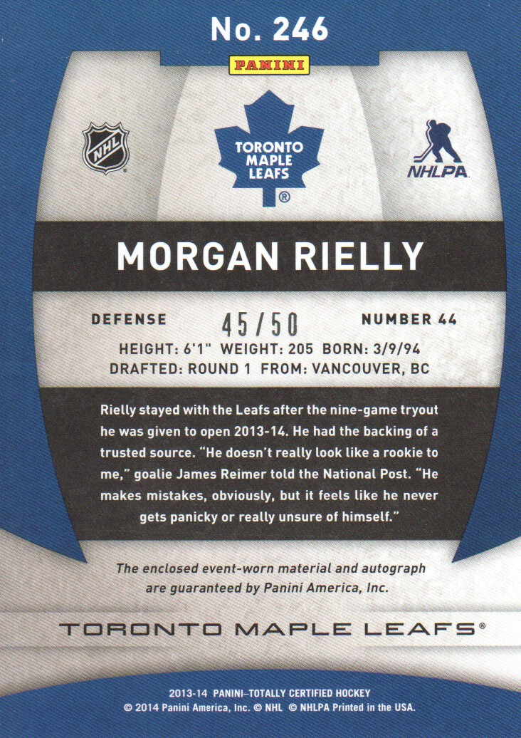 2013-14 Totally Certified Rookie Autograph Jerseys Platinum Red #246 Morgan Rielly back image