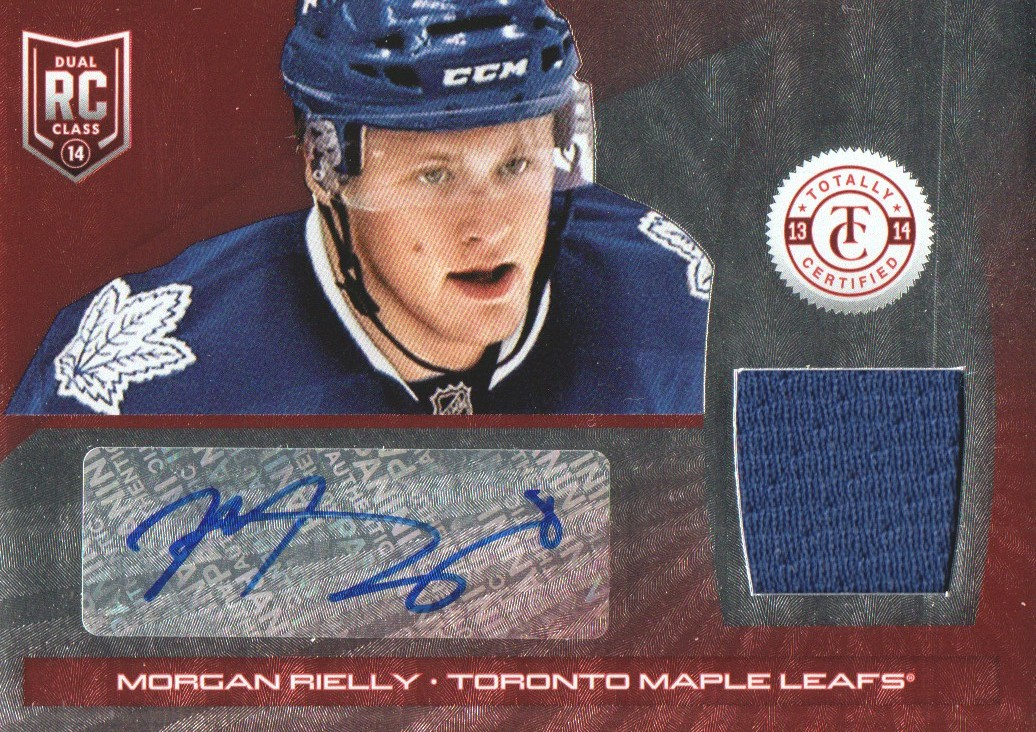 2013-14 Totally Certified Rookie Autograph Jerseys Platinum Red #246 Morgan Rielly