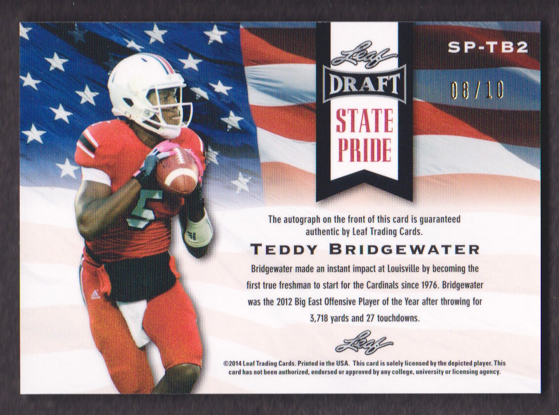 2014 Leaf Metal Draft State Pride Prismatic Green #SPTB2 Teddy Bridgewater back image