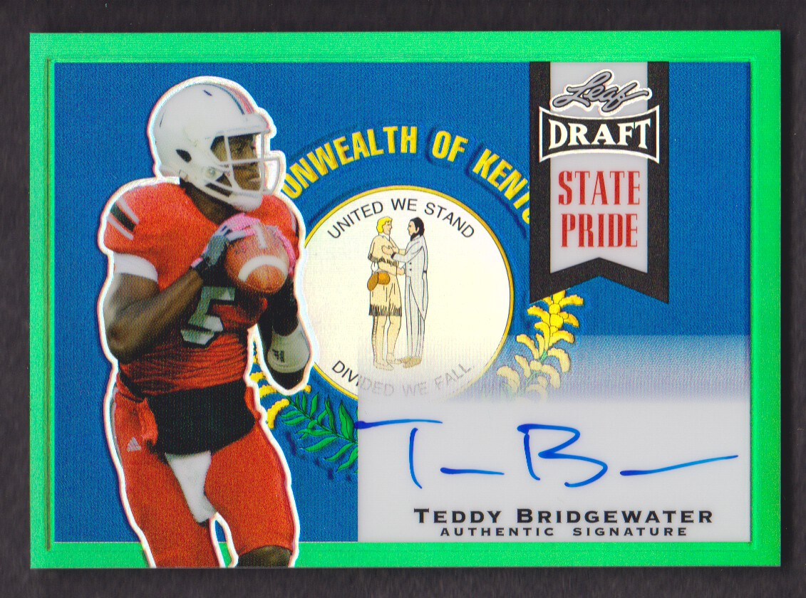 2014 Leaf Metal Draft State Pride Prismatic Green #SPTB2 Teddy Bridgewater
