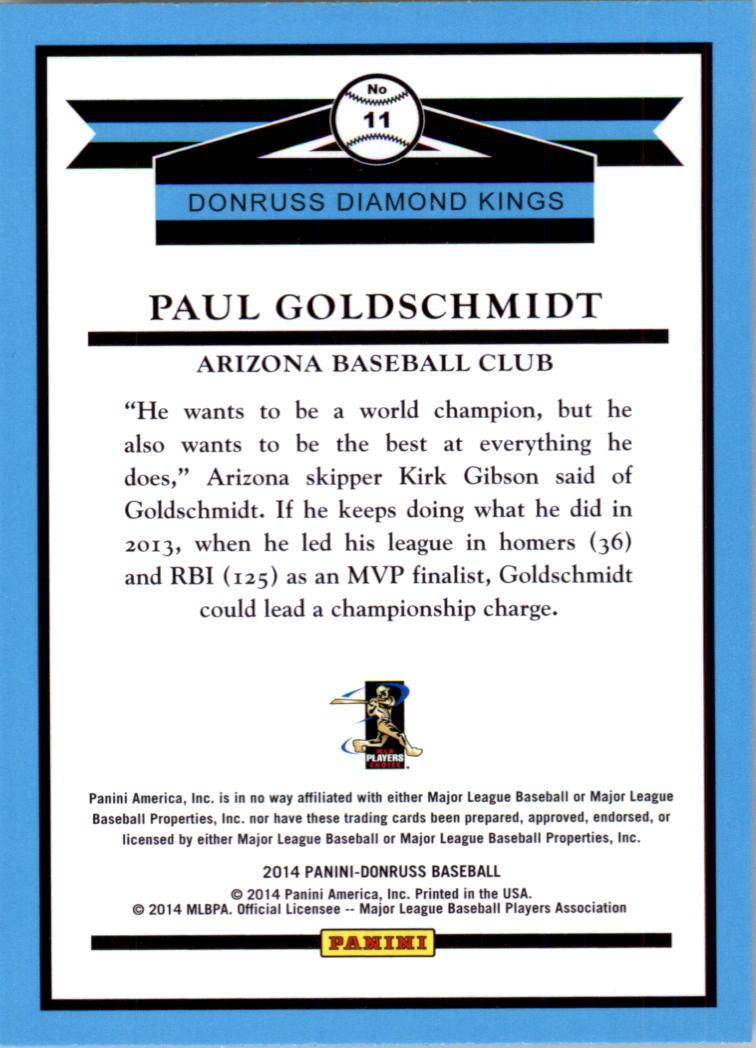 2014 Donruss #11 Paul Goldschmidt DK back image