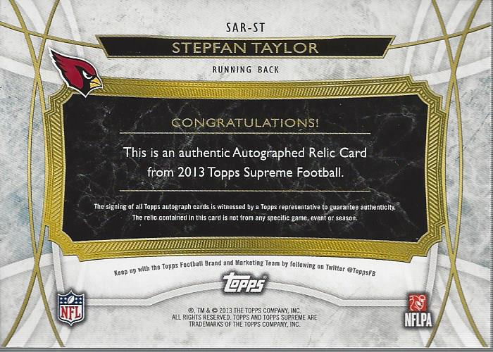 2013 Topps Supreme Autographed Relics #SARST Stepfan Taylor back image