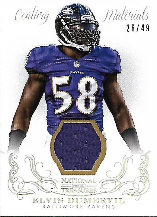 2013 Panini National Treasures Century Materials Silver #4 Elvis Dumervil/49