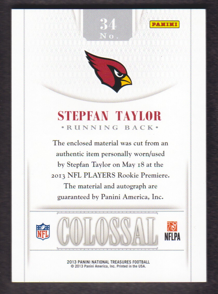 2013 Panini National Treasures Rookie Colossal Jersey Number Signatures #34 Stepfan Taylor back image