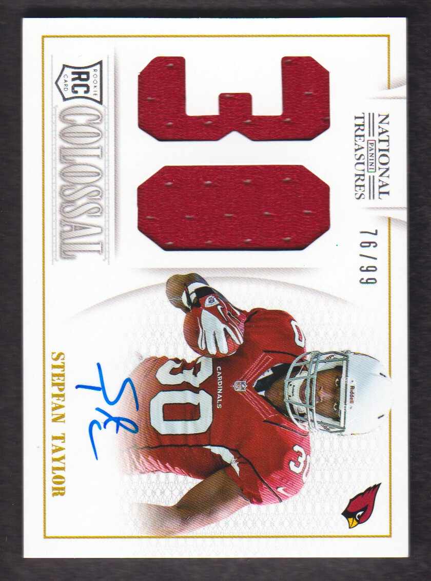 2013 Panini National Treasures Rookie Colossal Jersey Number Signatures #34 Stepfan Taylor