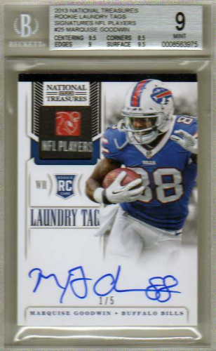 2013 Panini National Treasures Rookie Laundry Tags Signatures NFL Players #25 Marquise Goodwin