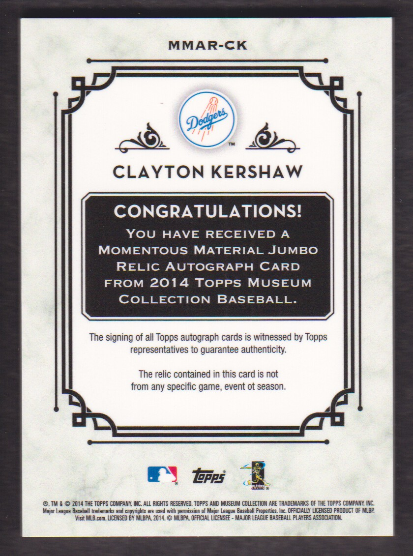 2014 Topps Museum Collection Momentous Material Jumbo Relic Autographs Emerald #MMARCK Clayton Kershaw back image