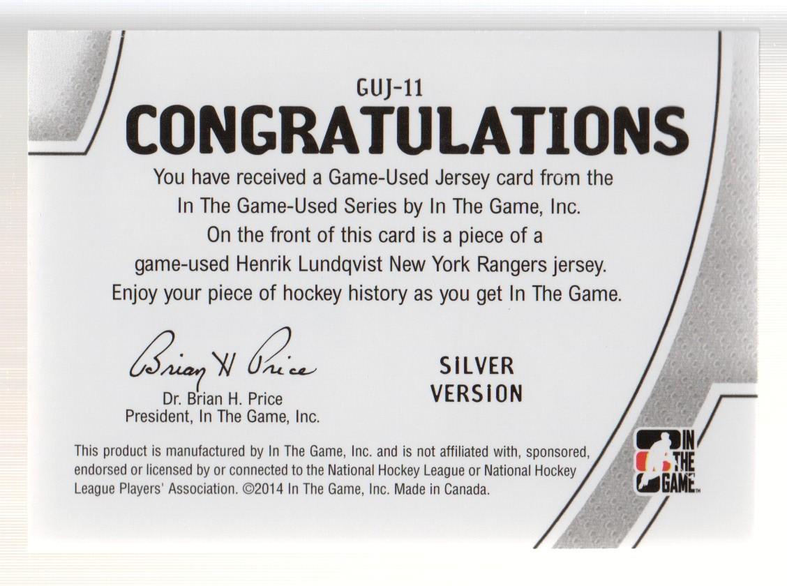 2013-14 ITG Used Jerseys Silver #GUJ11 Henrik Lundqvist back image