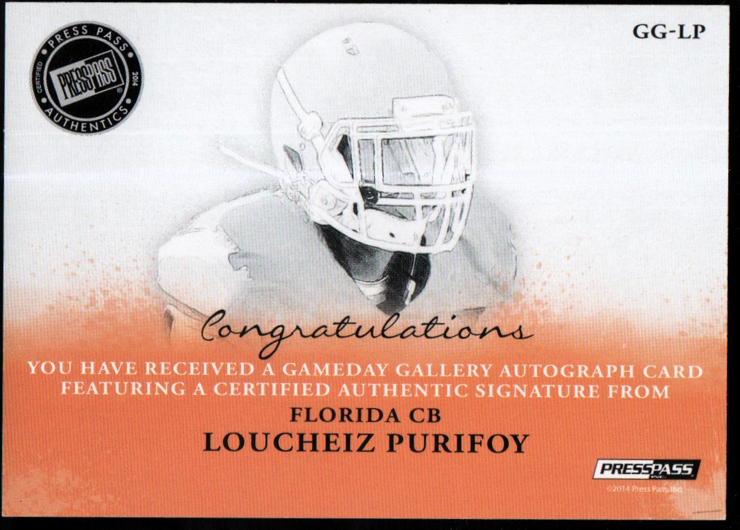 2014 Press Pass Gameday Gallery Silver #GGLP Loucheiz Purifoy/101* back image