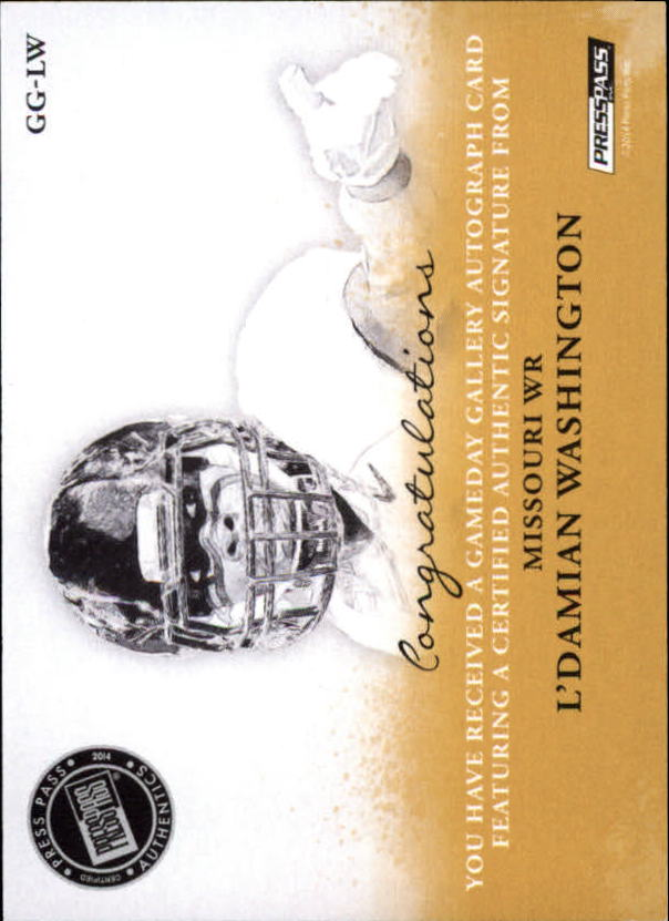 2014 Press Pass Gameday Gallery Silver #GGLW L'Damian Washington/147* back image