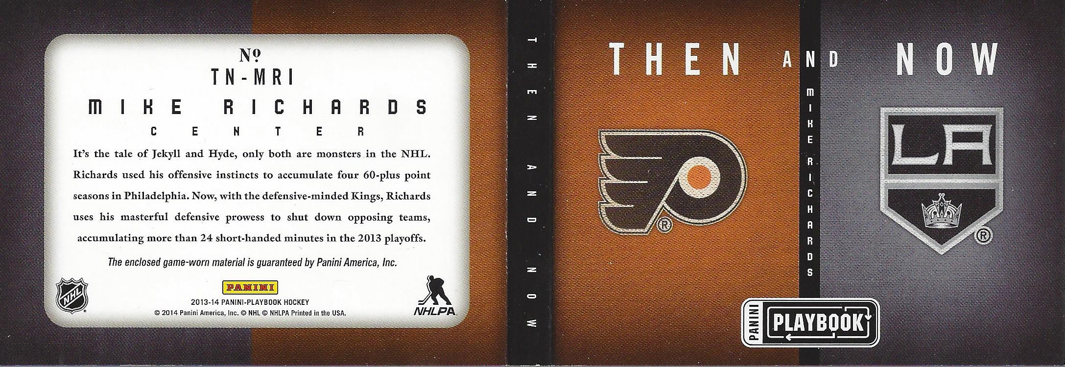 2013-14 Panini Playbook Then and Now Jerseys #TNMRI Mike Richards back image