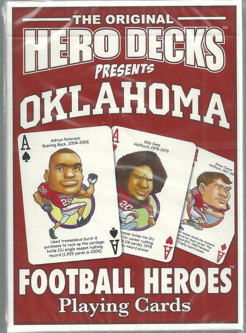 Oklahoma Sooners NCAA Football Hero Decks Playing Cards Poker Sized 52 Card Deck