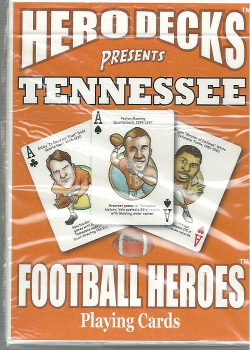 Tennessee Volunteers Vols NCAA Football Hero Decks Playing Cards Poker Sized 52 Card Deck