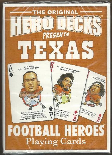 Texas Longhorns NCAA Football Hero Decks Playing Cards Poker Sized 52 Card Deck