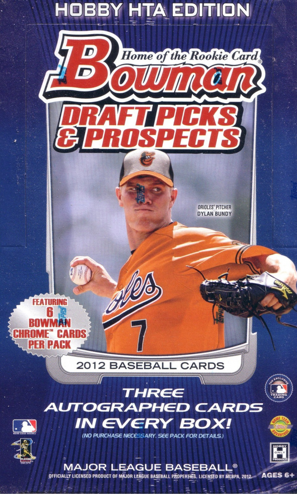 2012 Bowman Draft Picks & Prospects Baseball HTA Jumbo Hobby Box