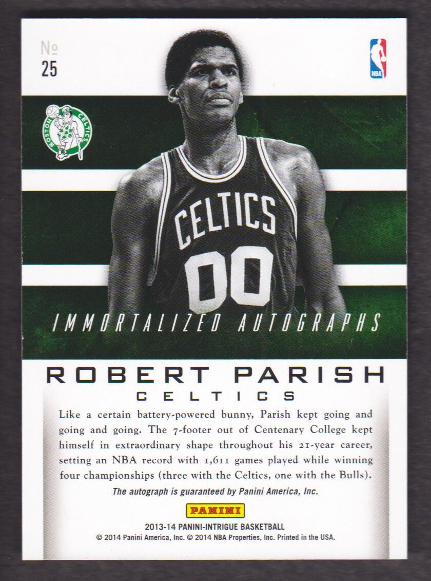 2013-14 Panini Intrigue Immortalized Autographs #25 Robert Parish/15 back image
