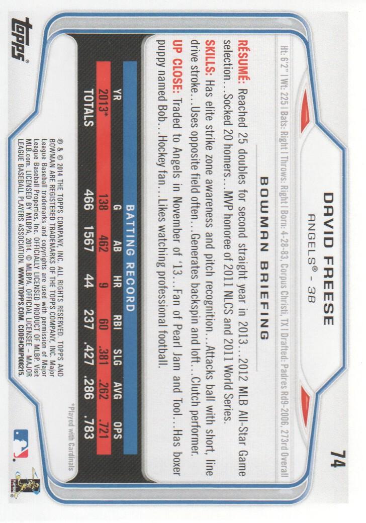 Details about 2014 Bowman Baseball #74 David Freese Angels