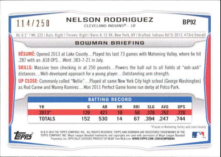 2014 Bowman Prospects Orange #BP92 Nelson Rodriguez back image